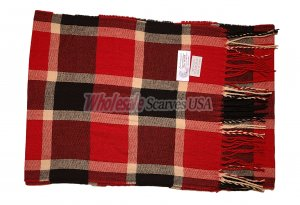 Cashmere Feel Plaid Scarf Red/Black