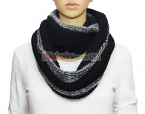 Infinity Two Tone Knit Scarf S1547 Black