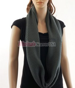 Fine Knit Infinity Scarf Dark Grey