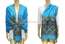 Pashmina Heart Pattern Light Blue