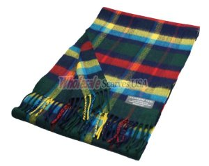 Cashmere Feel Plaid Scarf Green/Red