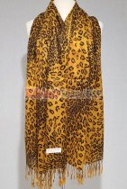 Leopard Big Print Scarf Yellow/Brown