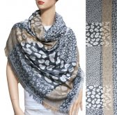 Leopard Section Pattern Scarf Grey