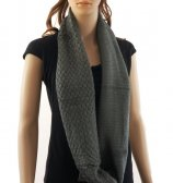 Knitted Pattern Infinity Scarf Dark Grey