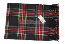 Cashmere Feel Plaid Scarf Dark Grey/Red