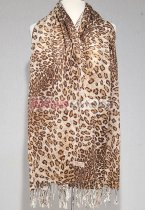 Leopard Big Print Scarf Light Brown