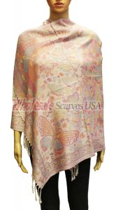 Wholesale Butterfly Design Pashmina Light Pink
