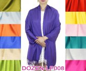 Silky Light Solid Pashmina 1 DZ, Asst. Color