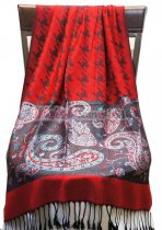Hounds Tooth Paisley Shawl Red