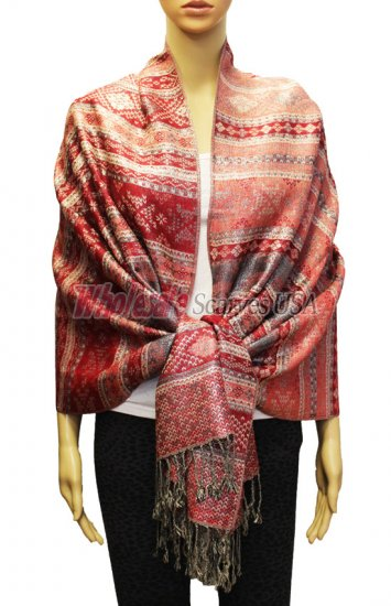 Geometry Pattern Scarf BH1805 Red - Click Image to Close