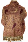Thicker Paisley Shawl Dark Red/Gold