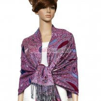 Thicker Paisley Shawl Magenta w/ Royal Blue