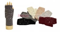 Winter Fingerless Studs Gloves 1 DZ, Asst. Color