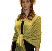 Paisley Jacquard Shawl Lime w/ Yellow