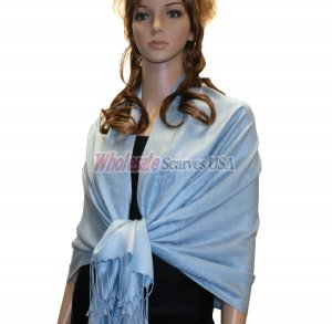 Paisley Jacquard Shawl Light Sky Blue