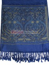 Wholesale Paisley Heart Pashmina Navy