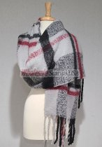 Cashmere Feel Plaid Shawl Grey