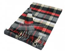 Cashmere Feel Plaid Scarf Grey/Red