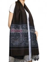 Paisley Lurex Pashmina Dark Brown