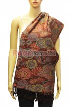 Paisley and Pattern Pashmina Black/Red
