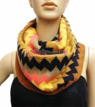 Zig Zag Infinity Knit Scarf Brown Orange Multi