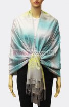Pashmina Ombre Leopard Turquoise/Yellow