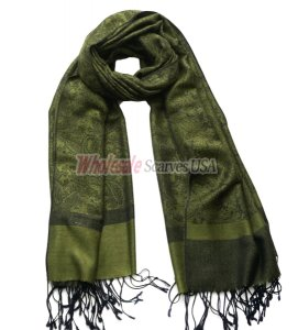 Paisley Jacquard Shawl Black w/ Army Green