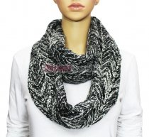 Infinity Two Color Mixed Knit Scarf Light Grey
