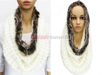 Infinity Faux Fur Solid Scarf White