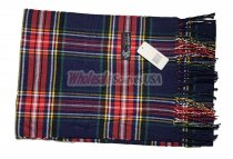 Cashmere Feel Plaid Scarf Navy #C131