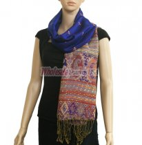 Paisley Stripe Pashmina Royal Blue