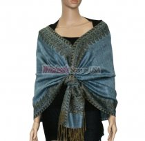 Jacquard Border Scarf Light Steel Blue