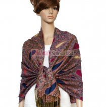 Thicker Paisley Shawl Royal Blue w/ Burgundy