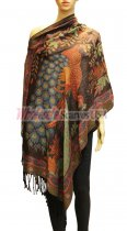 Wholesale Peacock Design Pashmina Brown/Blue