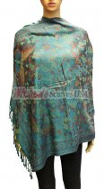 Wholesale Butterfly Design Pashmina Teal