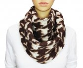 Winter Infinity Hound Tooth Scarf Brown
