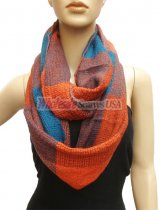 Wholesale Infinity Knit Scarf teal with orange