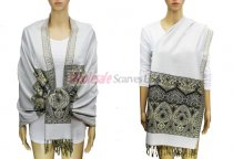 Pashmina Heart Pattern White