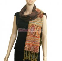 Paisley Stripe Pashmina Brown