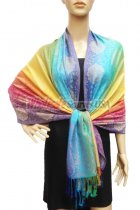 Pashmina Colorful Paisley Light Blue/Yellow