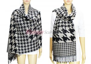 Hound Tooth Pashmina Black / White