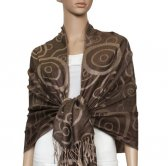 Soft Circle Pashmina Light Tan w/ Coffee