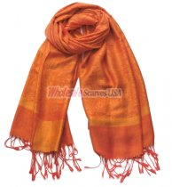 Paisley Jacquard Shawl Orange