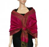 Jacquard Border Scarf Hot Pink