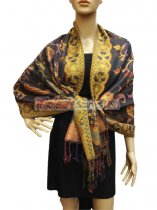 Pashmina Abstract Leaf Grey
