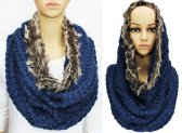 Infinity Faux Fur Solid Scarf Navy