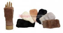 Winter Fingerless Faux-fur Solid Knit Gloves 1 DZ, Asst. Color