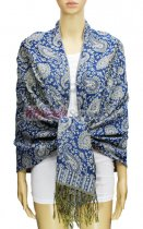 Pashmina Multi Paisley Royal Blue