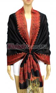 Jacquard Border Scarf Black/Orange