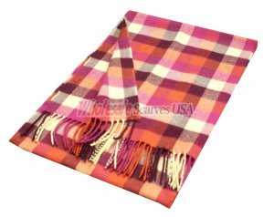 Woven Square Design Scarf A7 Plum/Red